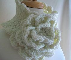 Crocheted Cabbage Rose Trimmed Scalloped Scarflette by needleworx, $30.00