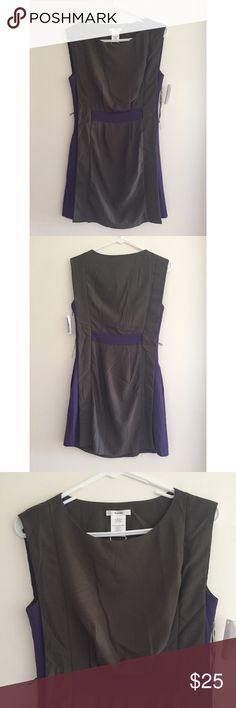NWT Esley dress with pockets Gray and purple dress that cinches at the waist. Did not come with a belt when purchased and one of the belt loops was broken and can just be cut off. Cute decorative flaps run down the dress from the sleeves and also have a slot for a belt to go through, so the broken belt loop really isn't necessary. Never worn and still has original tags. Dress also has pockets and a side zipper closure. Esley Dresses Mini