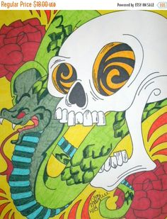 CIJSALE Skull and Snake Drawing, 8x10 Marker and Sharpie Drawing, Skull Art, Alternative Drawing, Cobra Snake, Macabre and Horror, Original