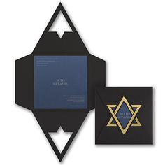 Shield of David - Invitation - Sapphire Shimmer