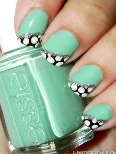 Mint green and polka dot nails!