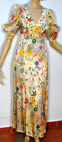 Ossie Clark for Radley Celia Birtwell Print Maxi Dress Original Vintage in Clothes, Shoes & Accessories, Vintage Clothing & Accessories, Women's Vintage Clothing, Dresses Retro Fashion 60s, 70s Fashion, Fashion History, Fashion Dresses, Vintage Fashion, Vintage Dresses, Vintage Outfits, Vintage Clothing, Clarks
