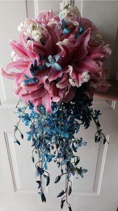 CBR152 Riviera Maya weddings / Bodas ramo rosa y azules/ bouquet pink and blues
