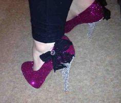 Pink Glitter High Heels With Silver by KellyJellyJewelsKJJC, £60.00