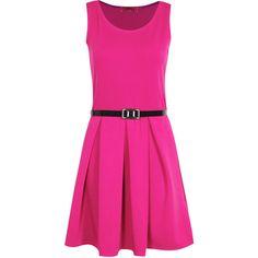 Boohoo Julia Box Pleat Sleeveless Skater Dress ($24) found on Polyvore