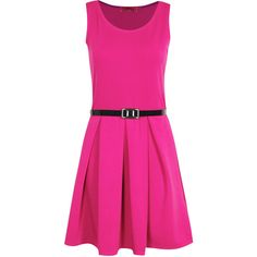Boohoo Julia Box Pleat Sleeveless Skater Dress (75 BRL) ❤ liked on Polyvore featuring dresses, pink, day dress, vestidos, pleated skater dress, sleeveless skater dress, round neck sleeveless dress, no sleeve dress en boohoo dresses