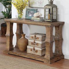 Furniture of America Temecula Shabby Chic Natural Tone Distressed Sofa Table (Natural Tone), Brown