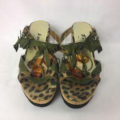 Azuree Cannes Shoes Wedge Sandal Sz 7 Slide Transparent Animal Print Tribal  #Azuree #Slides