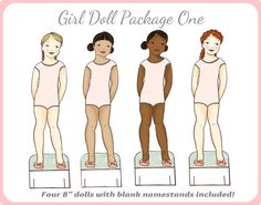 Girl Paper Doll Package - Dolls Only - Instant Download PDF