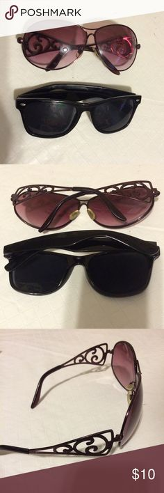 Two sunglasses Two comfortable sunglasses. One burgundy and other is black Accessories Glasses