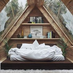 Home Interior Design — Beautiful Bedroom - design modern small tiny house Tiny House Cabin, Tiny House Design, Cabin Homes, Loft Design, Design Homes, Attic Design, Cabin Design, Modern Design, Attic Bedroom Small