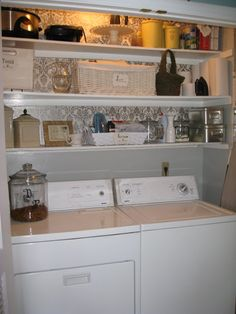 Line Laundry shelves with wrapping paper!  #Budget #decorating #fast