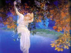 Maxfield Parrish, Reveries - French for Dreams.....love how the dreamer is swinging, not on solid ground....suspended in reverie.