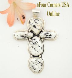 Four Corners USA Online - White Buffalo Turquoise Native American Silver Cross Jewelry NACR-1409, $294.00 (http://stores.fourcornersusaonline.com/white-buffalo-turquoise-stone-sterling-cross-sampson-jake-native-american-silver-jewelry-nacr-1409/)