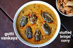 gutti vankaya curry recipe, stuffed brinjal curry, gutti vankaya kura or koora with step by step photo/video. spicy curry with eggplant, peanut & coconut. Spicy Curry Recipe, Spicy Recipes, Curry Recipes, Vegetarian Recipes, Cooking Recipes, Healthy Recipes, Baigan Recipes, Vegetarian Curry, Cooking Chef