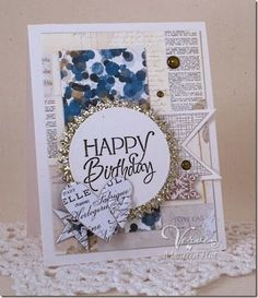 Card by Maureen Plut using Happy Birthday from Verve.  #vervestamps