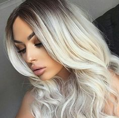 Platinum Blonde Ombre Wavy Wefted Cap Synthetic Wig - All Synthetic Wigs - EvaHair Platnium Blonde Hair, Platinum Blonde Balayage, Blonde Hair With Roots, Bright Blonde Hair, Peinados Pin Up, Corte Y Color, Ombre Hair, Wavy Hair, Hair Beauty