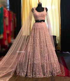 60182cb7ec3 Blush pink intricate bead work Lehenga with glass beads embroidery and  corset blouse