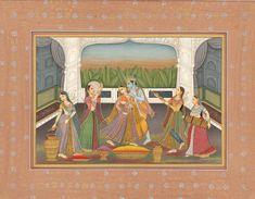 Krishna Playing Holi with Radha and Gopis