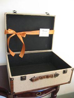 Wedding Card Box Suitcase / Rustic / Burlap by SouthburyTreasures, $65.00