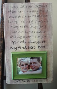 Wedding Frame for Dad 13 x 22 Custom Father by DellaLucilleDesigns, $62.00
