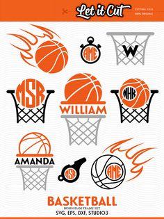 Basketball Cutting Files: SVG Balls, Basket and Fire Circle Monogram Frames.  Original Basketball Monogram Frames for cutting machines and vinyl