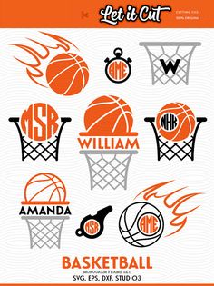 Basketball Cutting Files: SVG Balls, Basket and Fire Circle Monogram Frames.  Original Basketball Monogram Frames for cutting machines and vinyl