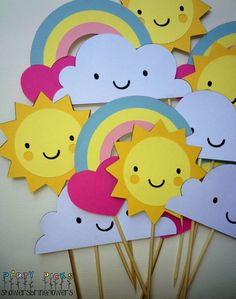 You Are My Sunshine Party Picks  Set of 12 by ShowersBringFlowers,