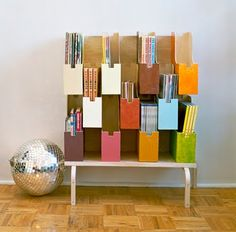 Todd Oldman's Ikea Hack: 11 Mackis magazine files painted in fun colors Magazine Organization, Magazine Storage, Home Organization, Magazine Rack, Magazine Display, Magazine Table, Magazine Files, Ikea Furniture, Furniture Makeover
