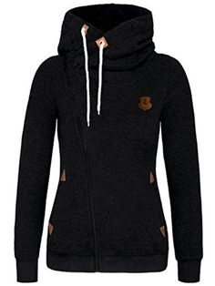 DOKER Womens Personality Oblique Zipper Hoodie Sweater CoatBlack XL * Find out more about the great product at the image link.