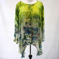 da753040967 NWT Citron Clothing Jasmine Bloom Butterflies Green Sheer Tunic Blouse 1X  2X 3X  Citron