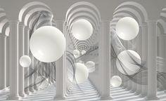 3D Fototapeta Bílé koule : Interie