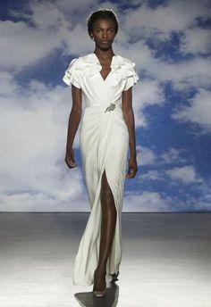 vestido de noiva kelly de jenny packham com mangas folhadas e saia com racha #casarcomgosto
