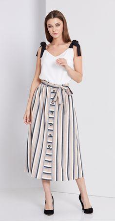 "Купить юбку EOLA-1685 в интернет-магазине ""Анабель"" Waist Skirt, Midi Skirt, High Waisted Skirt, Striped Skirts, Shopping, Fashion, Skirts, Moda, Midi Skirts"