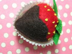 Nice tutorial to make felt chocolate-covered strawberries. Except I would use a CD as a template to make the initial circle.