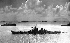 16 in Iowa class battleship USS New Jersey shown whilst serving as Admiral Halsey's flagship during the landing operations in the Philippines that resulted in the Battle of Leyte Gulf, October 1944: the greatest concentration of offensive sea power ever assembled.