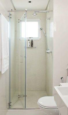 Box para banheiro branco com porta articulada