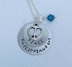 Philippians 4:7 Peace Metal Stamped Necklace with Heart Peace Sign Charm and Bead - $20.00