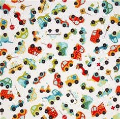 white Riley Blake flannel fabric with car stop sign