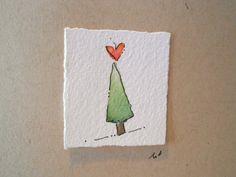 Cartes de Noël Aquarelle Arbre d'amour Deux par betrueoriginals