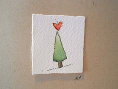 """Christmas Cards Watercolor """"Tree Love"""""""