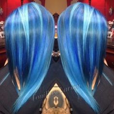 """The best blue EVER! Hair by @hairitagesaloncarlsbad. For formula go to ModernSalon.com and search Toni Rose Larson."""