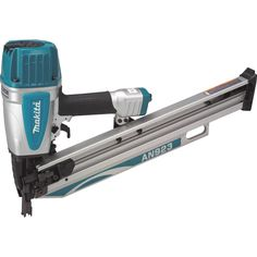 "Makita AN923 3-1/2"" Framing Nailer, 21° Full Round Head. 3-mode selector switch (contact, sequential, lock) allows user control over nailing options. Large capacity air chamber for increased power to drive nails varying in length from 2"""" to 3-1/2"""". Built-in air filter minimizes dust and debris from entering tool. """"Tool-less"""" depth adjustment engineered for more precise flush and countersink nailing. Retractable hook allows tool to remain close by but never in the way. Sharp…"