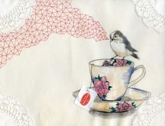 bird sits on flower tea cup and sings geometric patterns, doily