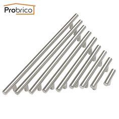 Probrico Diameter 12mm Hole Center 50mm~256mm Stainless Steel Kitchen Cabinet  Door T Bar Knob Furniture Drawer Handle Pull
