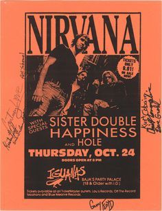 Nirvana, Flyer from Iguana's Tijuana, Mexico Bedroom Wall Collage, Photo Wall Collage, Poster Wall, Poster Prints, Rock Vintage, Vintage Music, Rock Band Posters, Punk Poster, Vintage Concert Posters