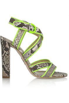 ROBERTO CAVALLI  Neon-trimmed python sandals  MY HEART HURTS