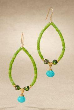 Mint Julep Earring - Teardrop Hoop Earring, Green Drop Earrings, Turquoise Bead Earring | Soft Surroundings