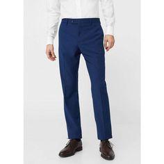 MANGO MAN Slim-fit suit trousers ($70) ❤ liked on Polyvore featuring men's fashion, men's clothing, men's pants, men's dress pants, ink blue, mens slim fit dress pants, mens blue pants, mens slim pants, mens zipper pants and mens slim fit pants
