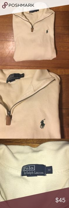 Polo by Ralph Lauren 1/4 zip Men's Cream 1/4 zip! Really soft and condition is like new. Olive green Poll symbol. Worn three times. Polo by Ralph Lauren Shirts Polos
